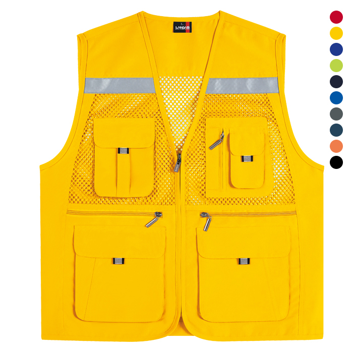 LD453 - 노랑 고급 왕망사 반사 조끼 [제작 대량 도매 로고 인쇄 레이저 마킹 각인 나염 실크 uv 포장 공장 문의는 네이뽕]