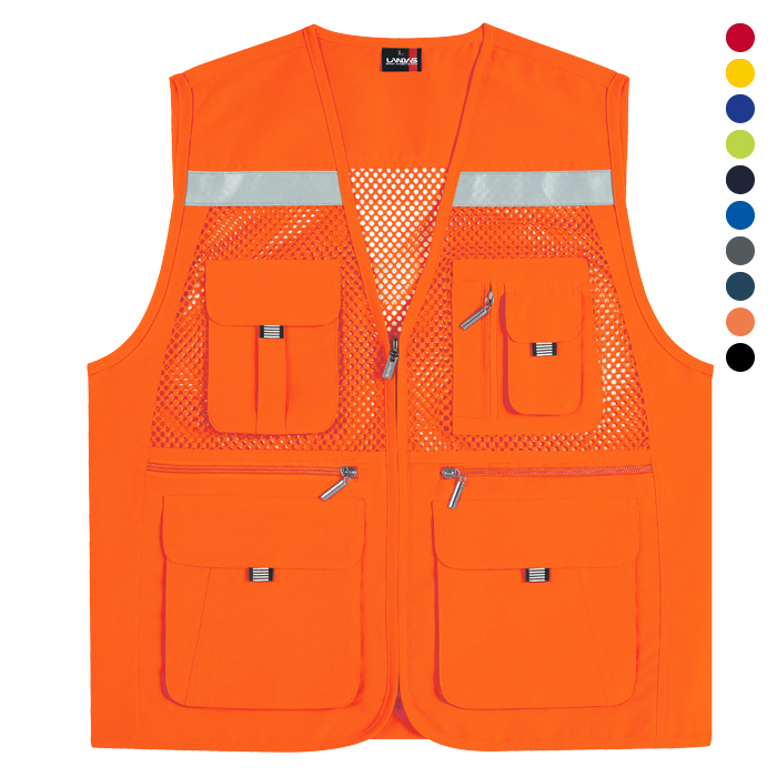 LD453 - 형광오렌지 고급 왕망사 반사 조끼 [제작 대량 도매 로고 인쇄 레이저 마킹 각인 나염 실크 uv 포장 공장 문의는 네이뽕]